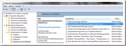 Windows 7 Balloon-Tipps deaktivieren