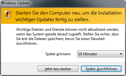 Windows 7 Neustart Meldung
